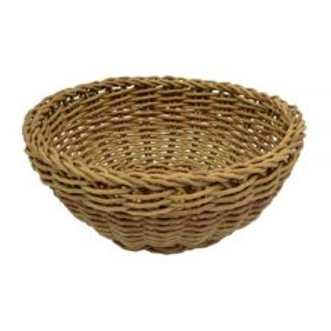 Dalebrook Poly Wicker Round Willow Basket 23cm Diameter x 8cm Height