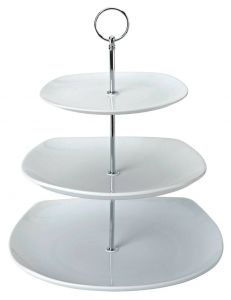 """Square 3 Tiered Cake Stand 7.75, 9.75 & 11.5"""" / 19.5, 25 & 29cm"""