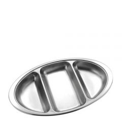 """Stainless Steel Oval 3 Division Vegetable Dish 14"""" / 35cm"""