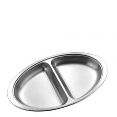 """Stainless Steel Oval 2 Division Vegetable Dish 12"""" / 30cm"""