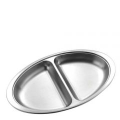 """Stainless Steel Oval 2 Division Vegetable Dish 14"""" / 35cm"""