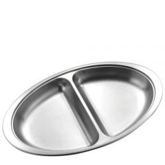 """Stainless Steel Oval 2 Division Vegetable Dish 20"""" / 51cm"""