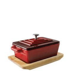 """Magma Red Cast Iron Lidded Rectangular Casserole With Base 5x3.5"""" / 13x9cm"""