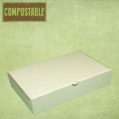 Compostable White Small Corrugated Fish & Chip Food Box 240x155x50mm