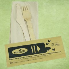 Disposable Birch Wood Knife, Fork & Recycled Napkin Meal Pack Set