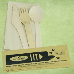 Disposable Birch Wood Knife, Fork, Spoon & Recycled Napkin Meal Pack Set