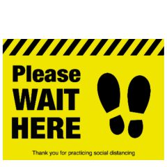 Please Wait Here With Social Distancing Symbol Floor Graphic 400x300mm