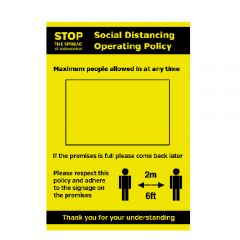 A4 Waterproof Plastic Social Distancing Policy Max Persons Allowed In Premises Poster 210x297mm