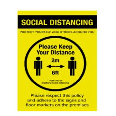 A4 Waterproof Plastic Social Distancing Protect Yourself And Others Around You Poster 210x297mm