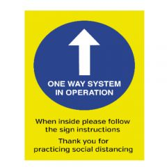 A3 Waterproof Plastic One Way System In Operation Social Distancing Guidance Poster 297x420mm
