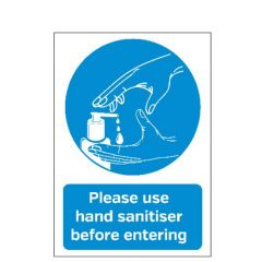 A5 Self Adhesive Vinyl Please Use Hand Sanitiser Before Entering Sticker 148x210mm