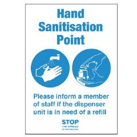 A4 Self Adhesive Vinyl Hand Sanitisation Point Notice 210x297mm