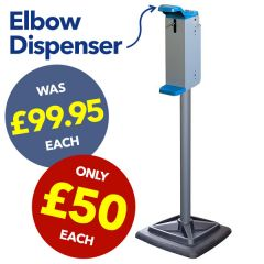 Clearance Steel Column Hand Soap / Sanitiser Station with Elbow Dispenser