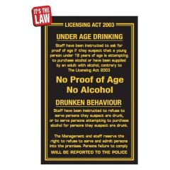 No Proof of Age, No Alcohol Traditional Bar Notice 170x260mm