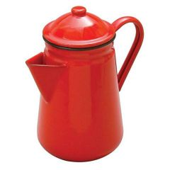 Red Enamel Coffee Pot with Black Rim 1.3Ltr