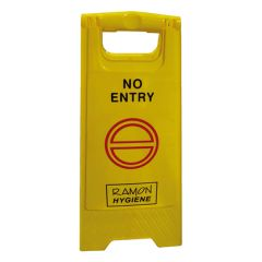 Yellow Plastic No Entry Warning A Frame Sign 60x30x27cm