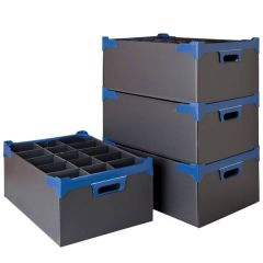 24 Compartment Black Glass Storage Container for Glasses up to 15.5cm Tall / 7.9cm Diameter