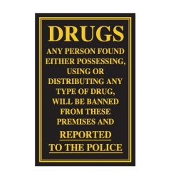 Possessing, Using or Distributing Drugs Traditional Bar Notice 170x260mm