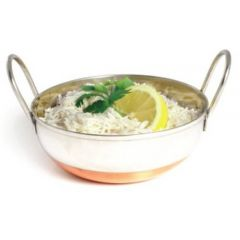 """Stainless Steel Deep Balti Dish with Copper Base 6"""" / 15cm"""