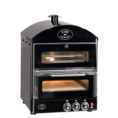 King Edward Black Pizza Oven with Warmer 570x610x815mm