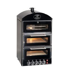 King Edward Black Double Pizza Oven with Warmer 570x610x1045mm