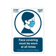 'Face covering must be worn at all times' A4 Waterproof Plastic Poster 210x297mm