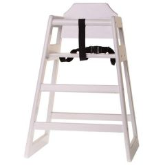 Wooden High Chair Stackable White Painted (Supplied Unassembled)