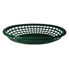 """Oval Forest Green Plastic Classic Serving Basket 9.5x6x2"""" / 24x15x5cm"""