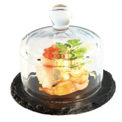 Slate Butter Tray With Glass Dome 10.5cm Diameter 8cm Tall