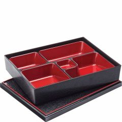 """5 Compartment Bento Box with Lid 10.5x8.25"""" / 27x21cm"""