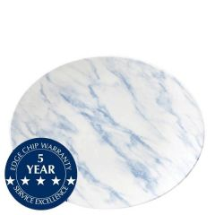"""Churchill Textured Prints Blue Marble Oval Coupe Plate 12.5x10"""" / 31.7x25.5cm"""