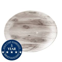"""Churchill Textured Prints Sepia Wood Oval Coupe Plate 12.5x10"""" / 31.7x25.5cm"""