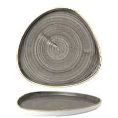 """Churchill Stonecast Peppercorn Grey Chefs' Triangle Walled Plate 10.25"""" / 26cm"""