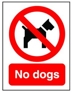 Red 'No Dogs' Flexible Plastic Sign 20x15cm