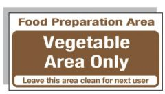 Brown Vegetable Area Only Sticker 10x20cm