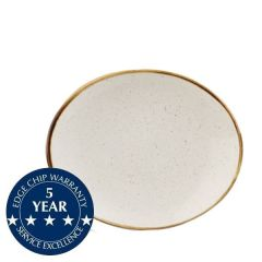 """Churchill Stonecast Barley White Oval Coupe Plate 7.75"""" / 19.2cm"""