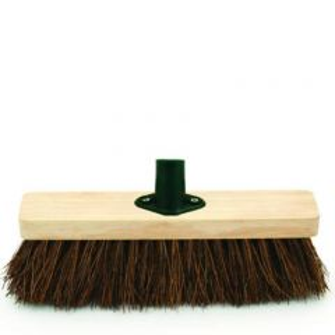 "Wooden Broom Head with Bracket & Bassine Bristles 11.4"" / 29cm"