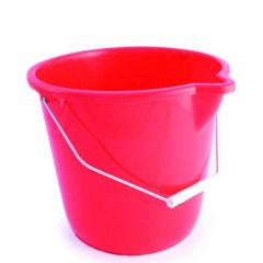 Red Coloured Plastic Bucket with Pouring Lip & Wire Handle
