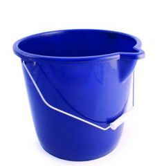 Blue Coloured Plastic Bucket with Pouring Lip & Wire Handle