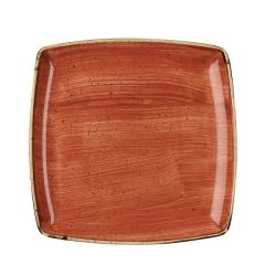 "Churchill Stonecast Spiced Orange Deep Square Plate 10.5"" / 26.8cm"