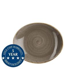 """Churchill Stonecast Peppercorn Grey Oval Coupe Plate 7.75"""" / 19.2cm"""