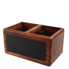 Reversible Acacia Table Tidy with Chalk Board 27x17x14cm