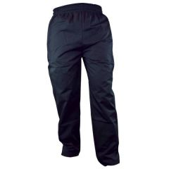 Black Polycotton Trousers with Elasticated Waist & Drawstring Medium 32-34""