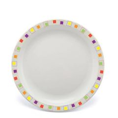 """Harfield Abstract Squares Multi-Coloured Patterned Polycarbonate Plate 9"""" / 23cm"""