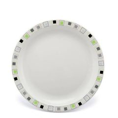 """Harfield Abstract Squares Lime & Black Patterned Polycarbonate Plate 9"""" / 23cm"""