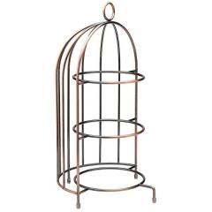 """Aged Copper Birdcage Cake Stand 18.5"""" / 47cm - To Hold 3 x 23cm Plates"""