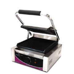 Pantheon Small Single Ribbed Plate Panini Contact Grill 290x395x210mm