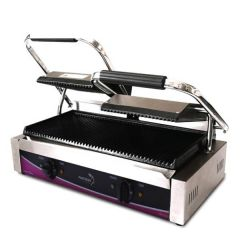 Pantheon Double Ribbed Plate Panini Contact Grill 570x395x210mm