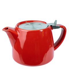 Red Ceramic Teapot With Stainless Steel Lid & Infuser 18oz / 51cl