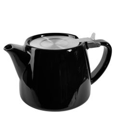 Black Ceramic Teapot With Stainless Steel Lid & Infuser 18oz / 51cl